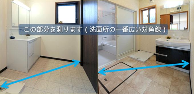 洗面所(脱衣所)サイズの測り方